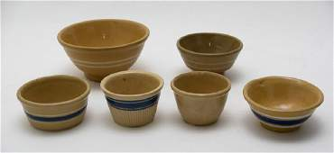 Six Small Antique Yellow Ware Bowls