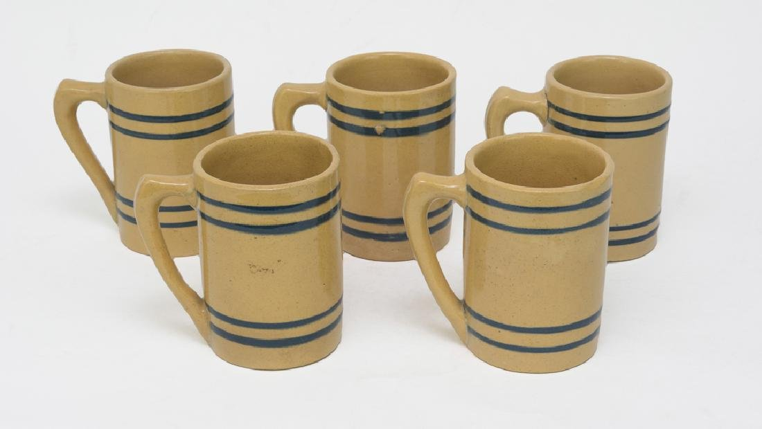 Five Antique Yellow Ware Mugs with Blue Stripes