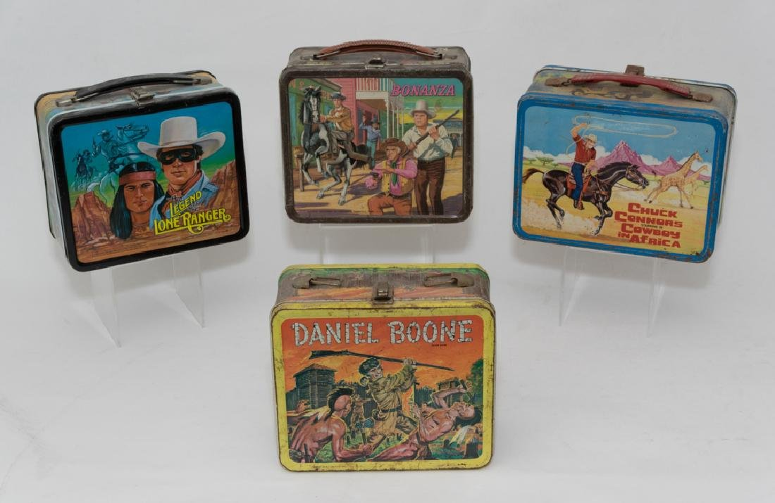 Group of Four Tin Western Lunch Boxes