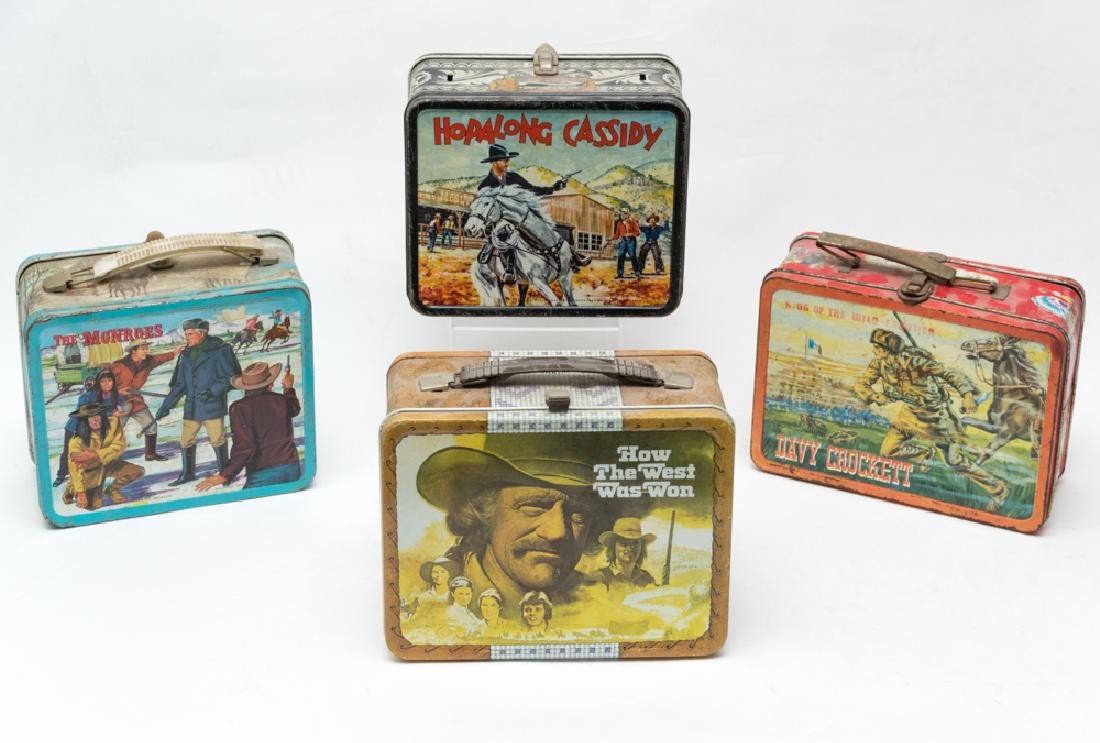 Four Western Tin Lunch Boxes
