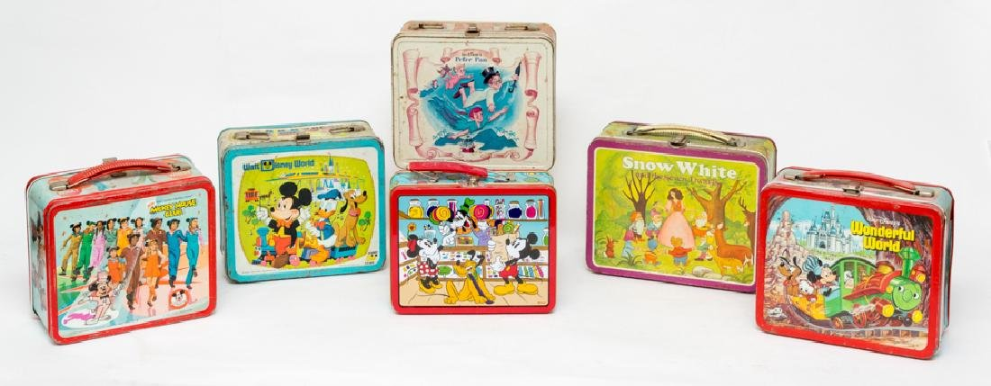 Six Walt Disney Tin Lunchboxes