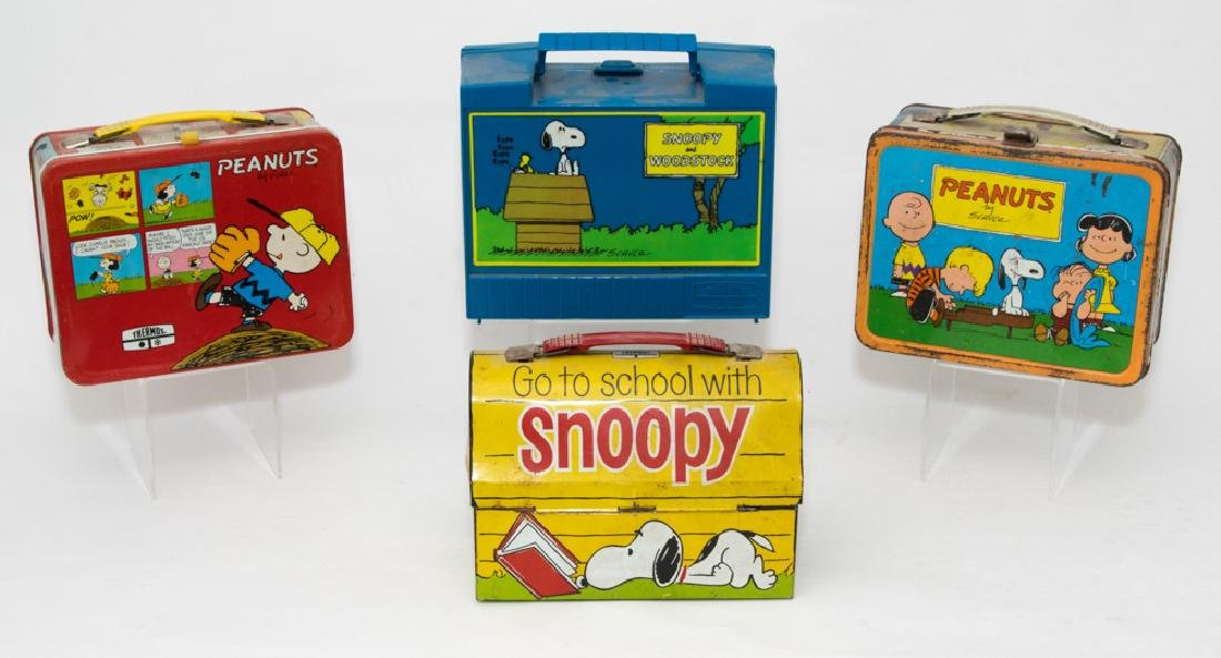 Three Tin and One Plastic Peanuts Lunchboxes