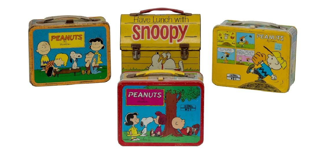Four Tin Peanuts Lunch Boxes