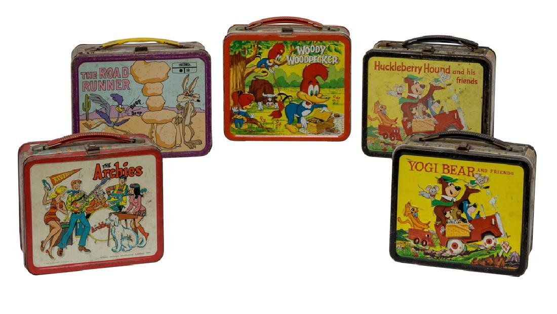 Five Tin Cartoon Lunch Boxes