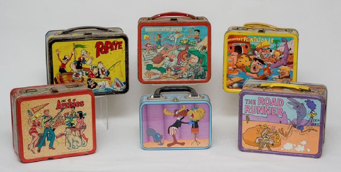 Six Tin Cartoon Lunch Boxes