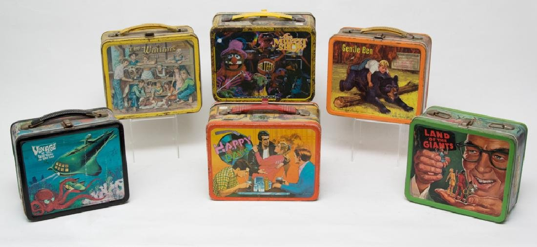 Six Tin TV Show Lunchboxes