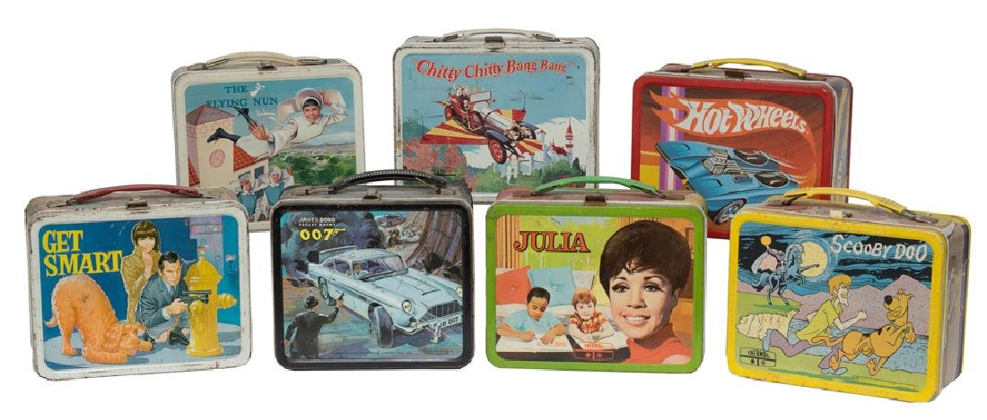 Mixed Lot of 7 Tin Lunchboxes, incl. TV and Movie