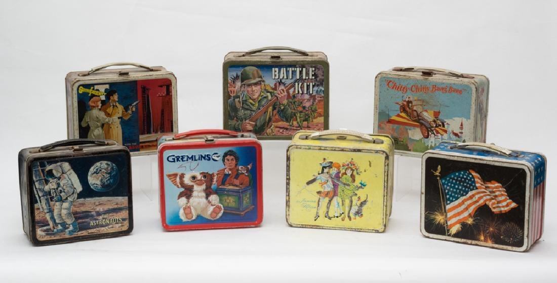 Mixed Lot of 7 Various Tin Lunch Boxes
