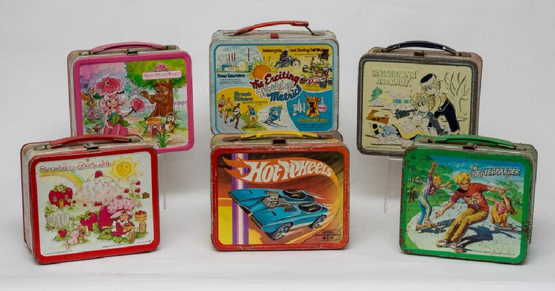 Six Assorted Tin Lunchboxes