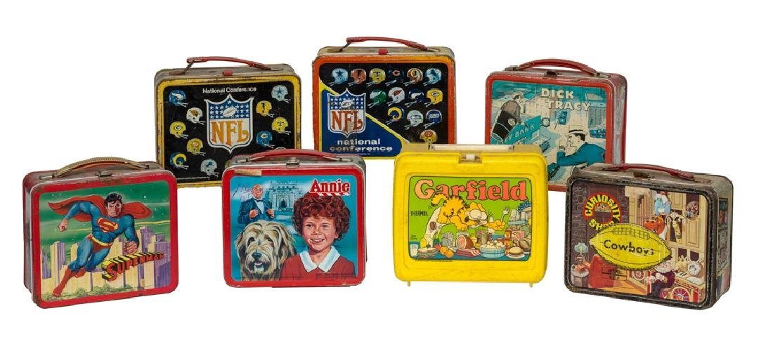 Group of 7 Lunchboxes, 6 Tin & 1 Plastic