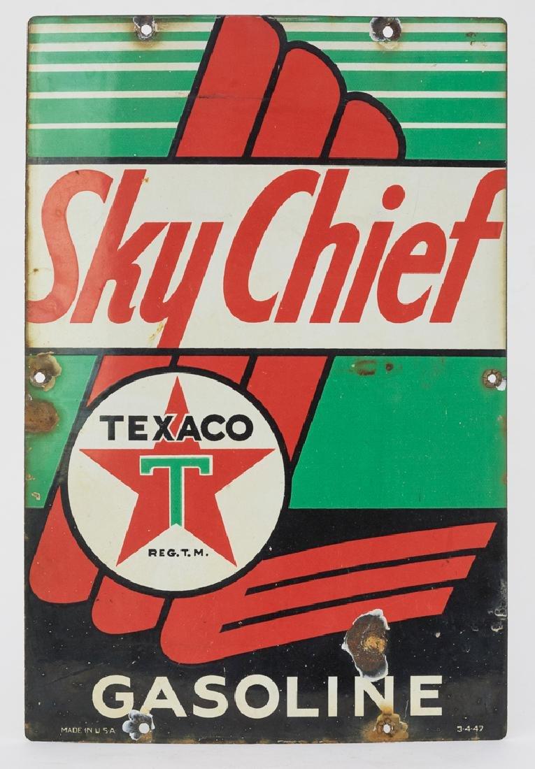 Texaco Porcelain Sky Chief Gasoline Sign