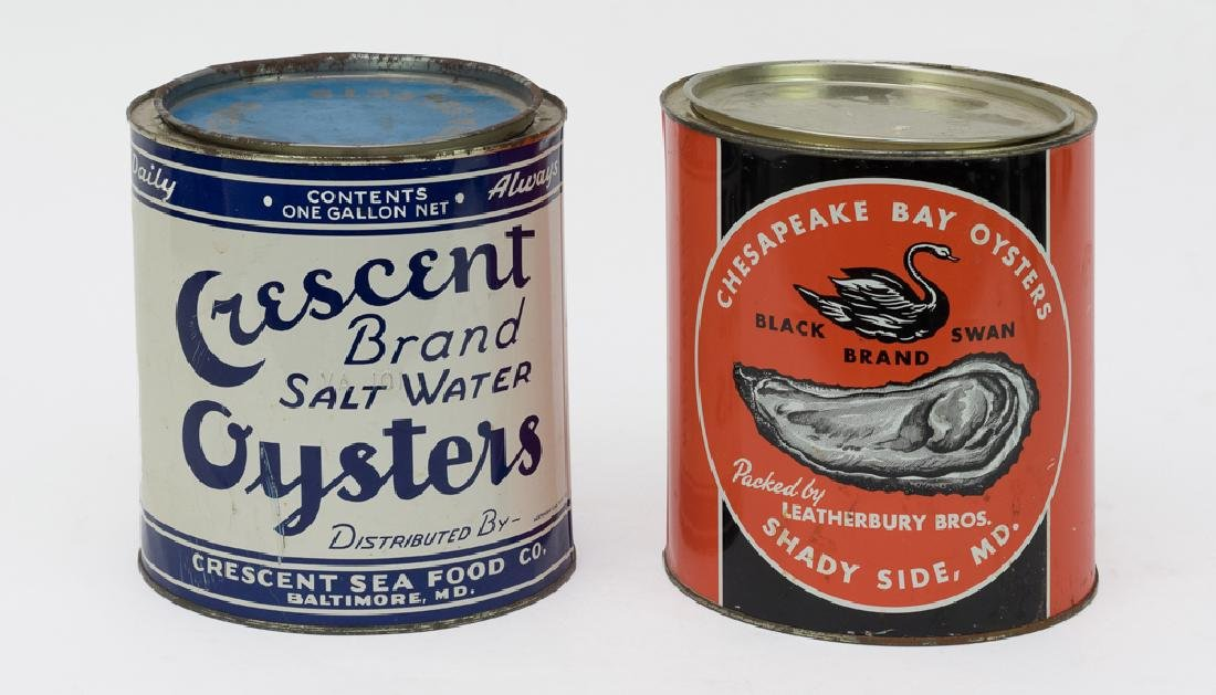 Set of 2 Oyster Gallon Tin Cans