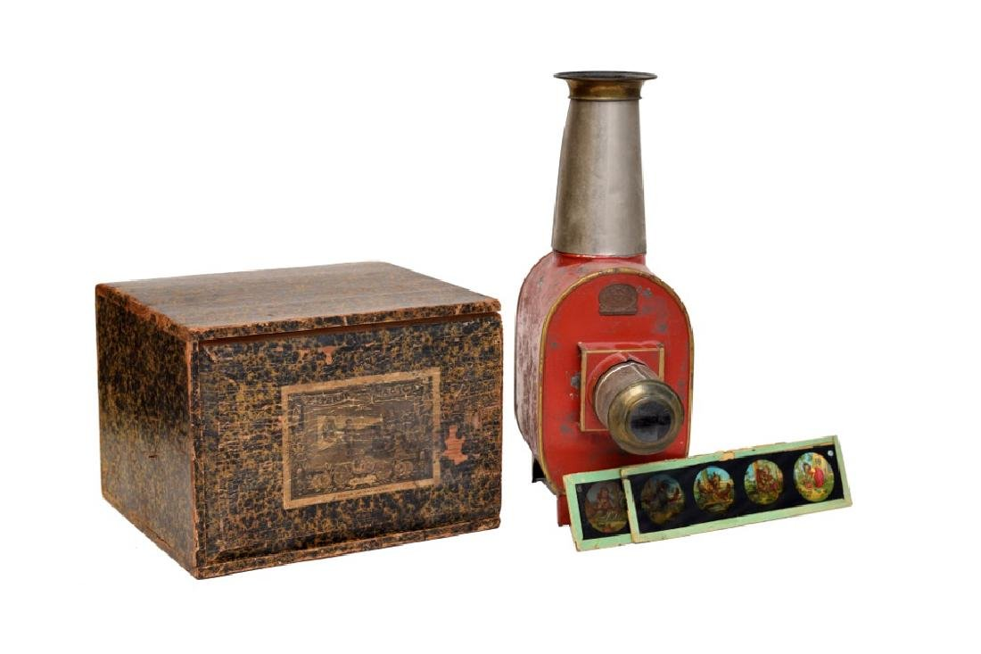 Boxed Magic Lantern with Slides by Ernst Plank