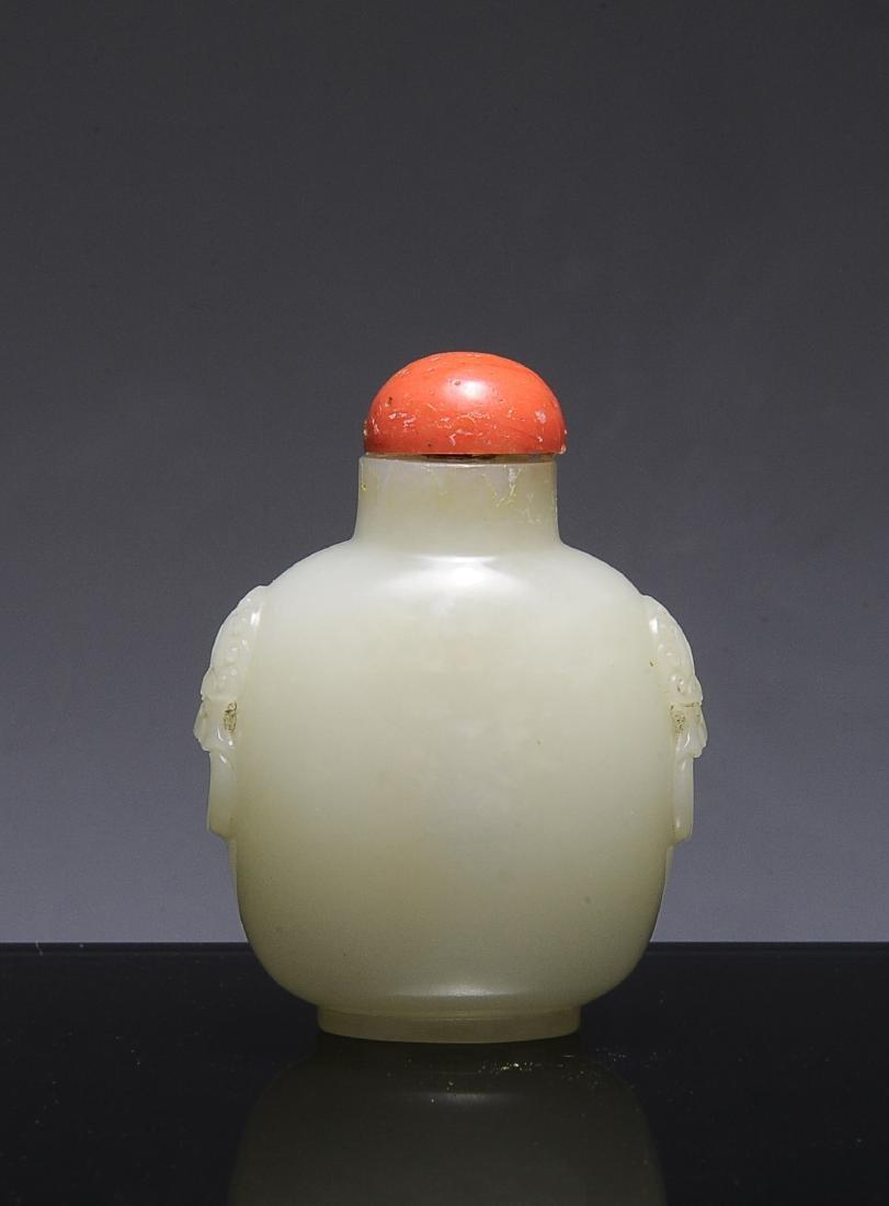 Chinese White Jade Snuff Bottle, 19th Century