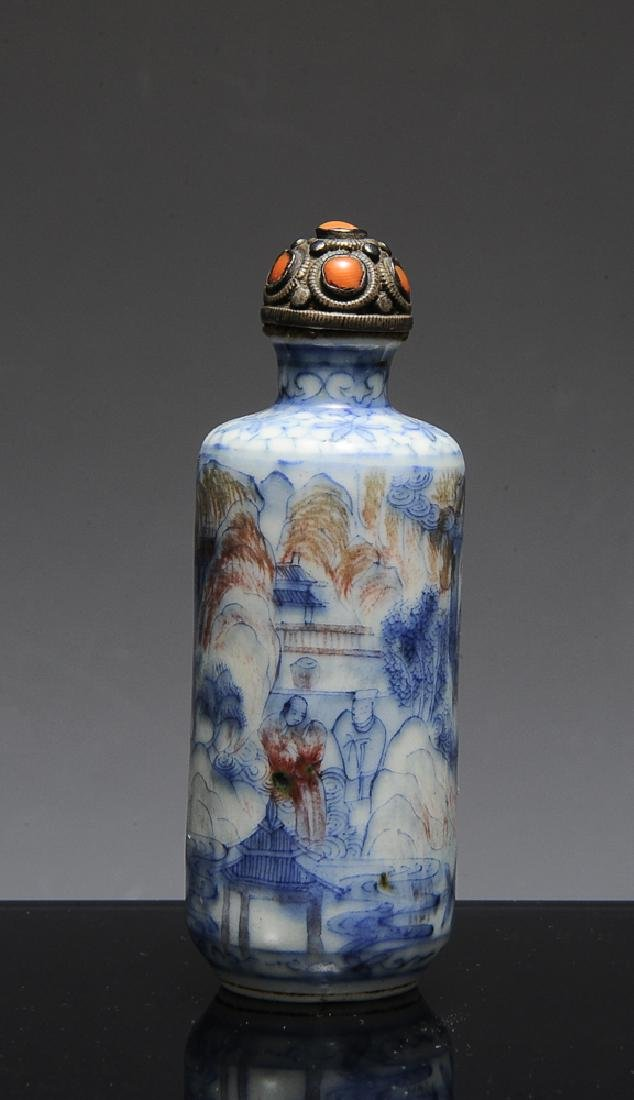 Chinese Red & Blue Underglaze Snuff Bottle, 19th C
