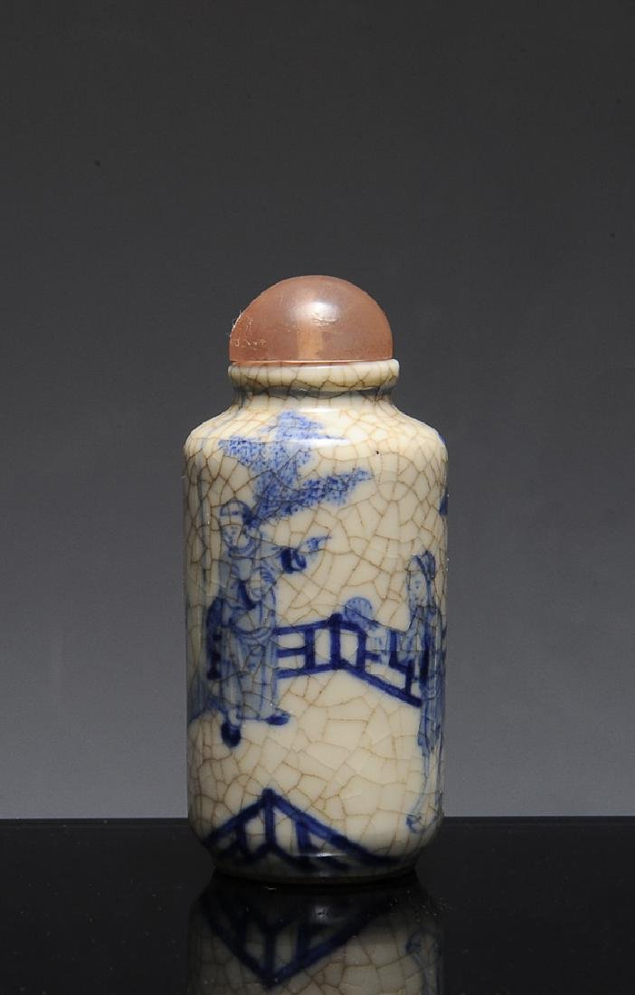 Chinese Ge Glaze Blue & White Snuff Bottle, 19th C