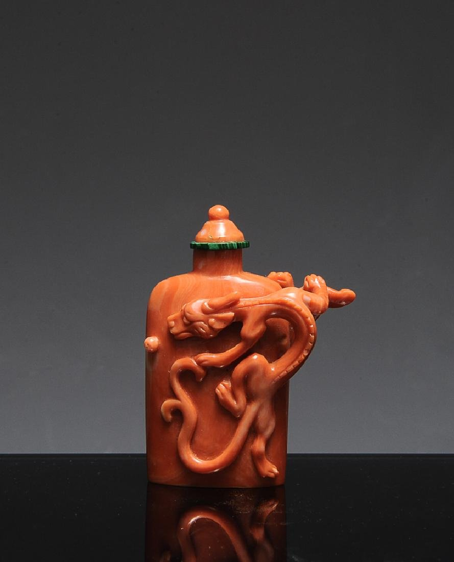 Chinese Coral Snuff Bottle, 19th Century