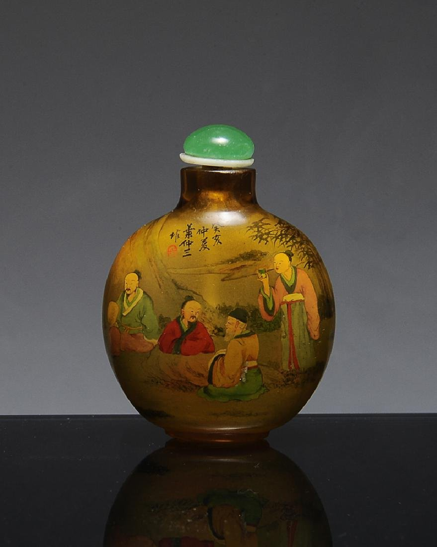 Interior Painted Chinese Snuff Bottle, Ye Zhong Shan