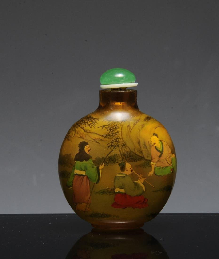 Interior Painted Chinese Snuff Bottle, Ye Zhong Shan - 3