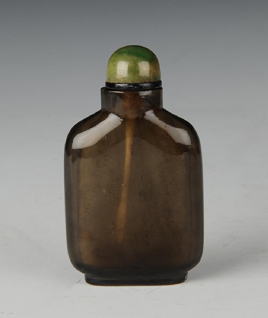 Chinese Crystal Snuff Bottle w/ Jadeite Lid, 19th C.