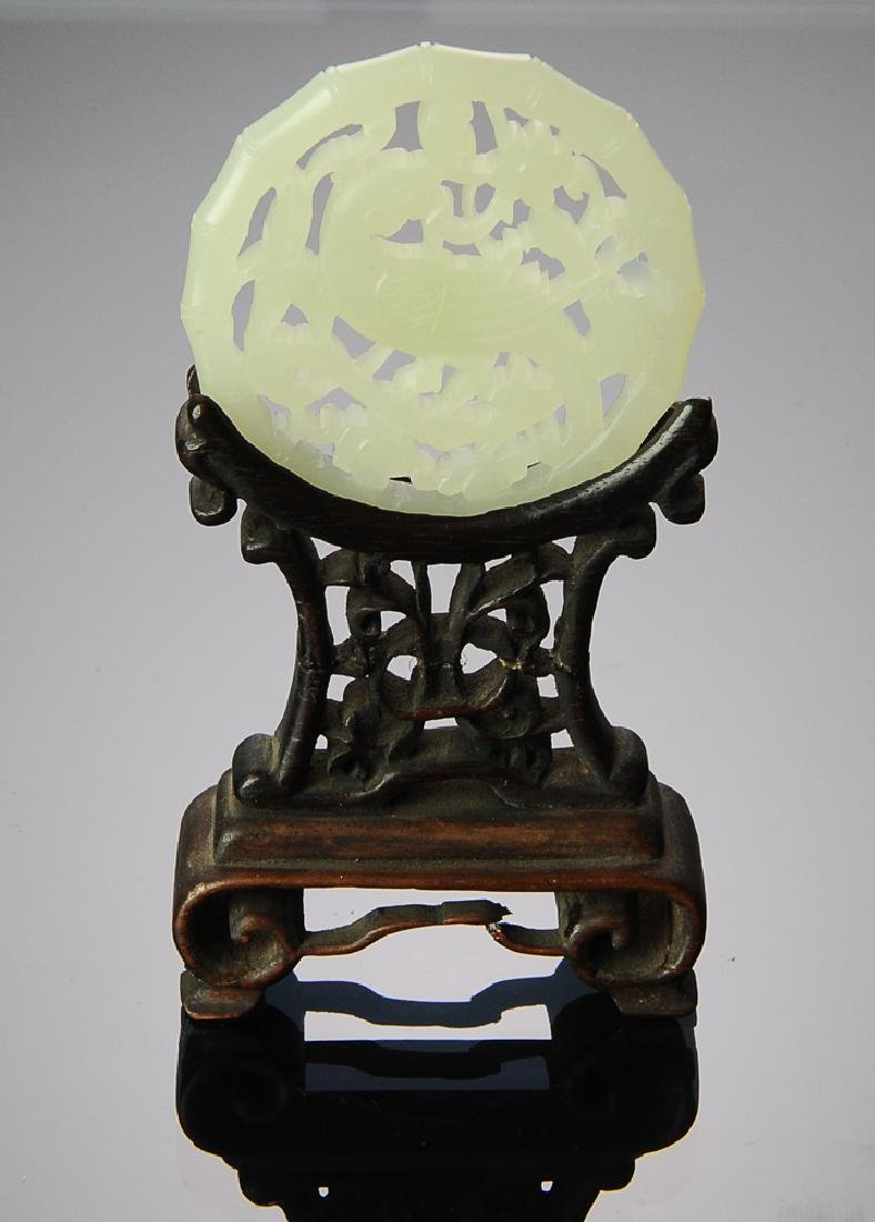 Chinese White Jade Plaque w/ Parrot & Stand 18th C