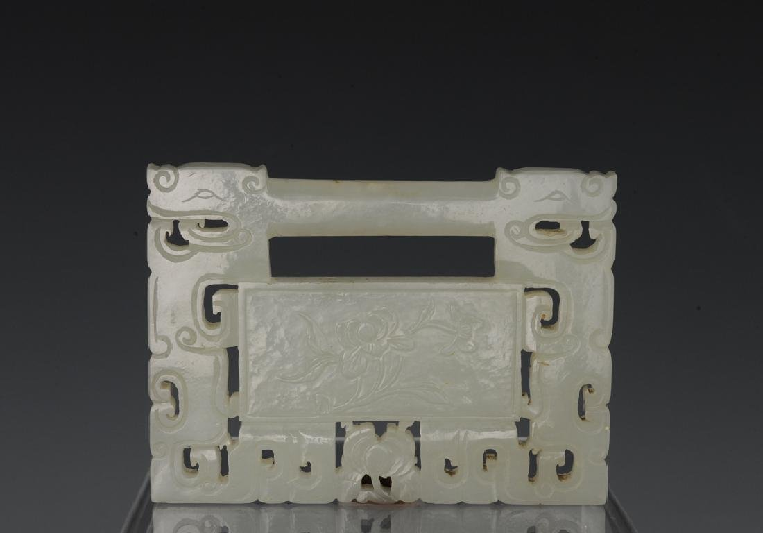 Chinese White Jade Plaque w/ Flower, 19th C