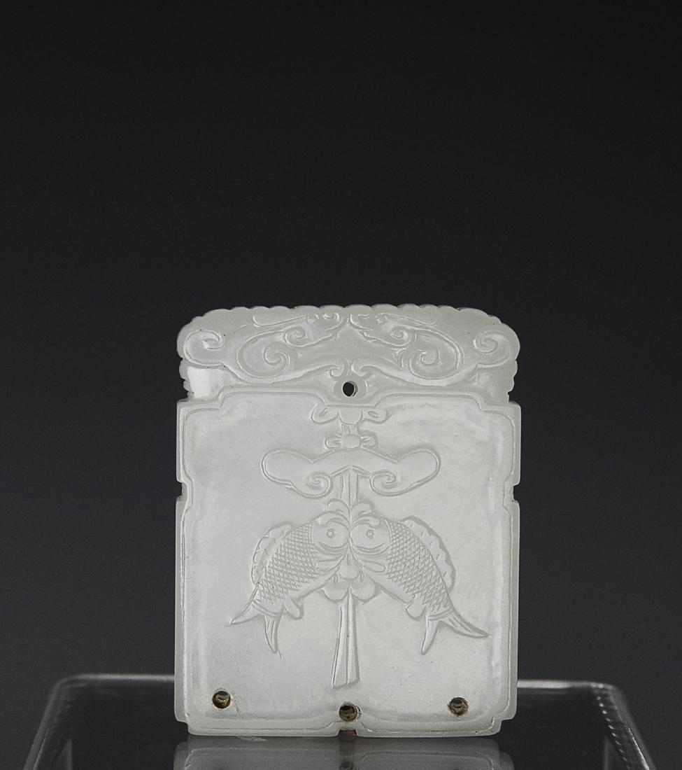 Chinese White Jade Pendant w/ Fish, 18th C
