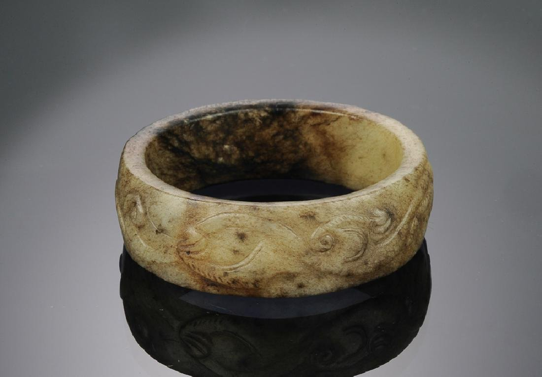 Chinese Jade Bangle Carved w/ Rat, Ming Dynasty or