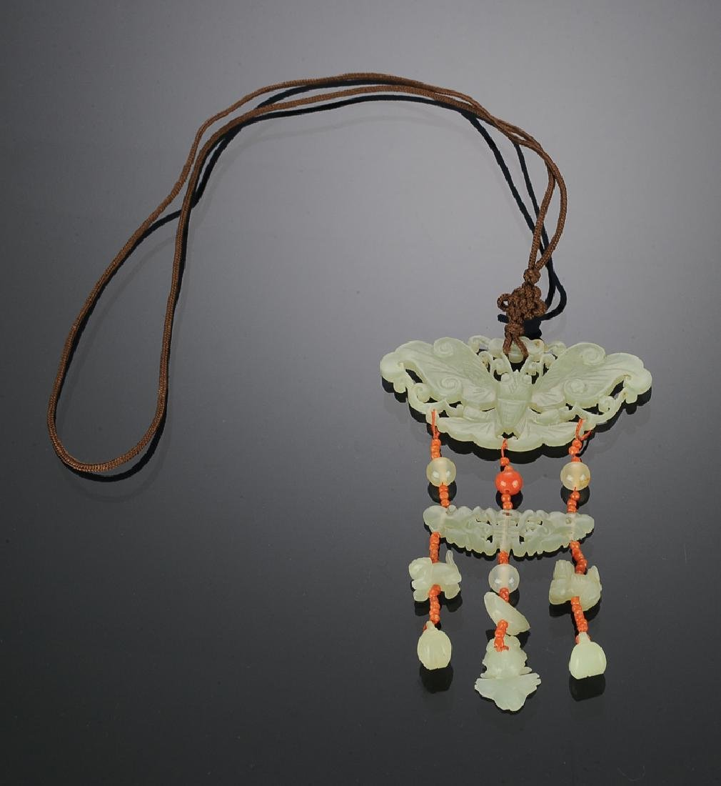 Chinese White Jade Butterfly Necklace, 19th C