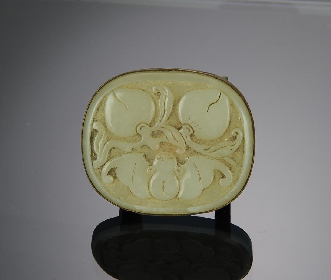 Chinese Belt Buckle w/ Jade Plaque, 18th - 19th C