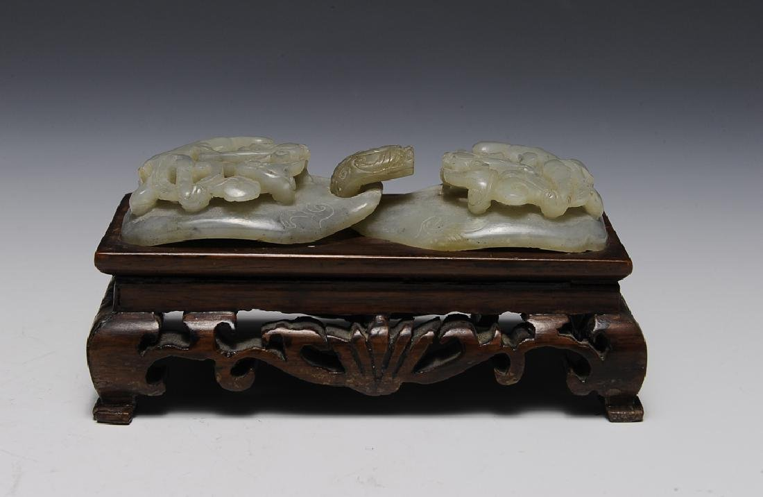 Chinese Jade Belt Buckle w/ Wood Stand, 18th-19th C.