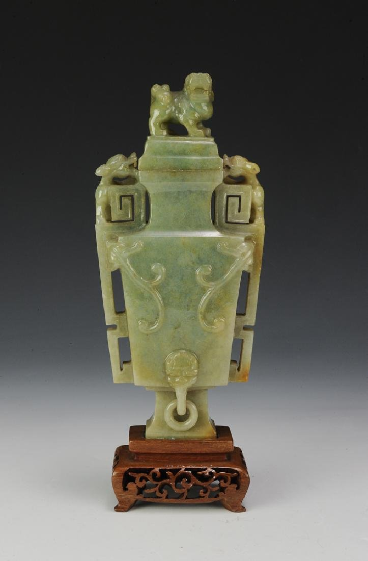 Chinese Square Jadeite Vase, Late 19th Century