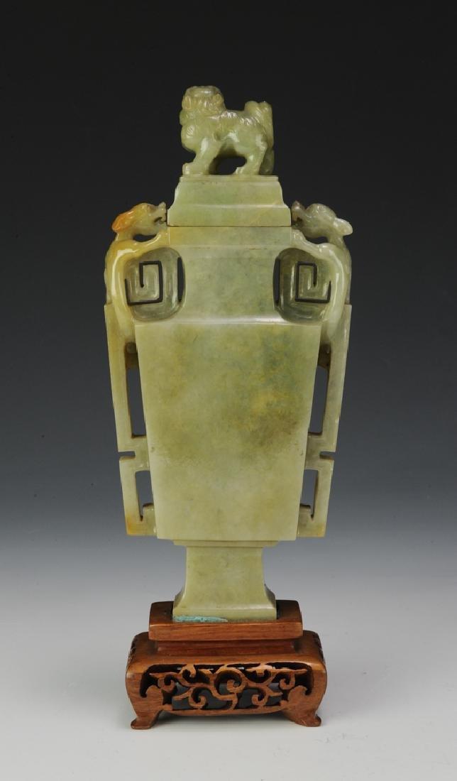 Chinese Square Jadeite Vase, Late 19th Century - 3