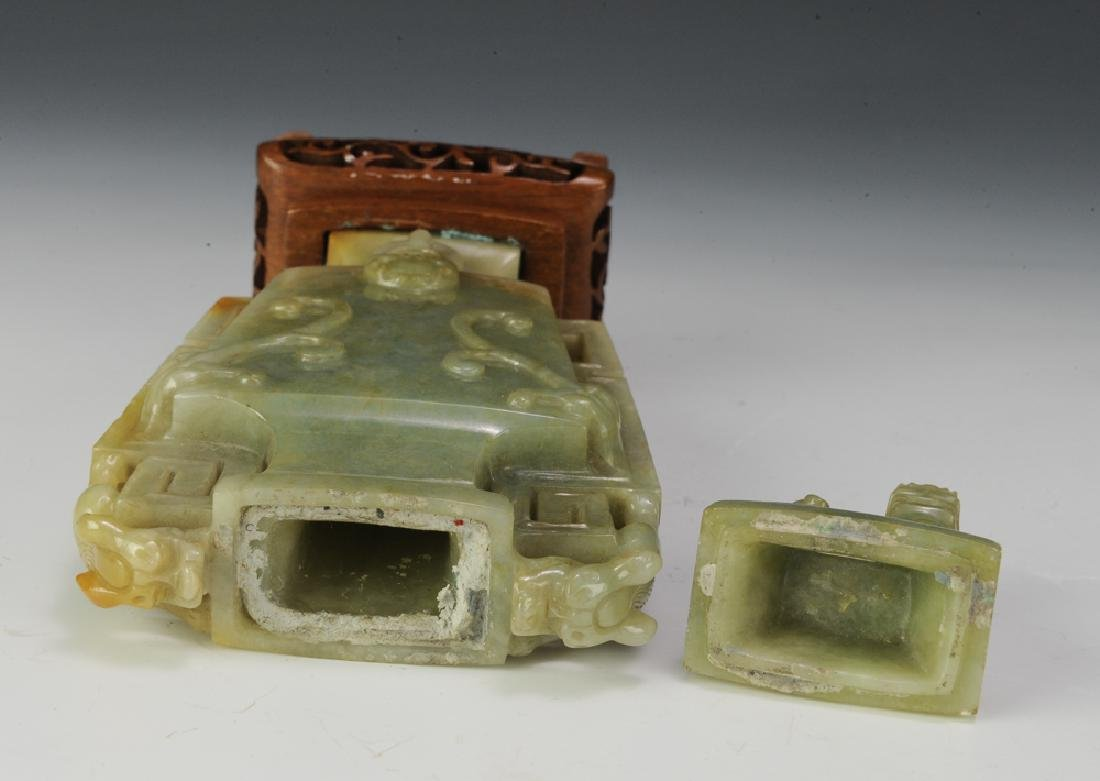 Chinese Square Jadeite Vase, Late 19th Century - 5