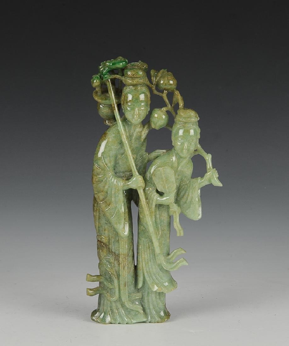 Chinese Carved Jadeite Statue of Court Ladies 19th C.