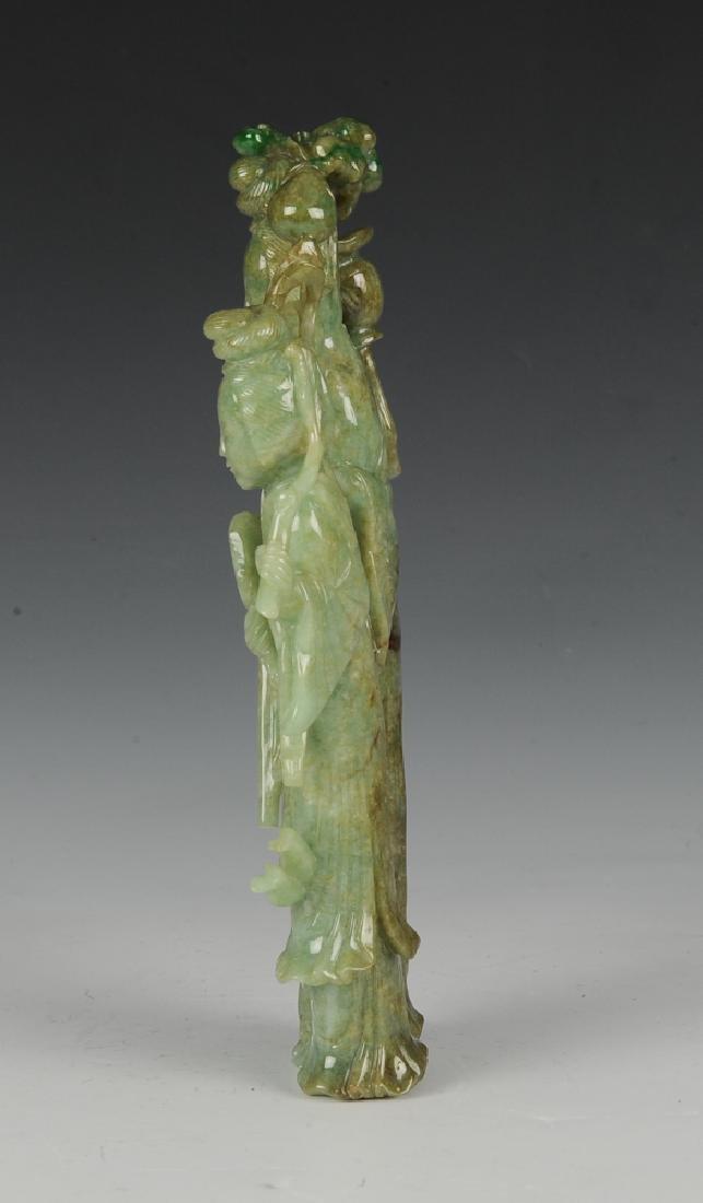 Chinese Carved Jadeite Statue of Court Ladies 19th C. - 2