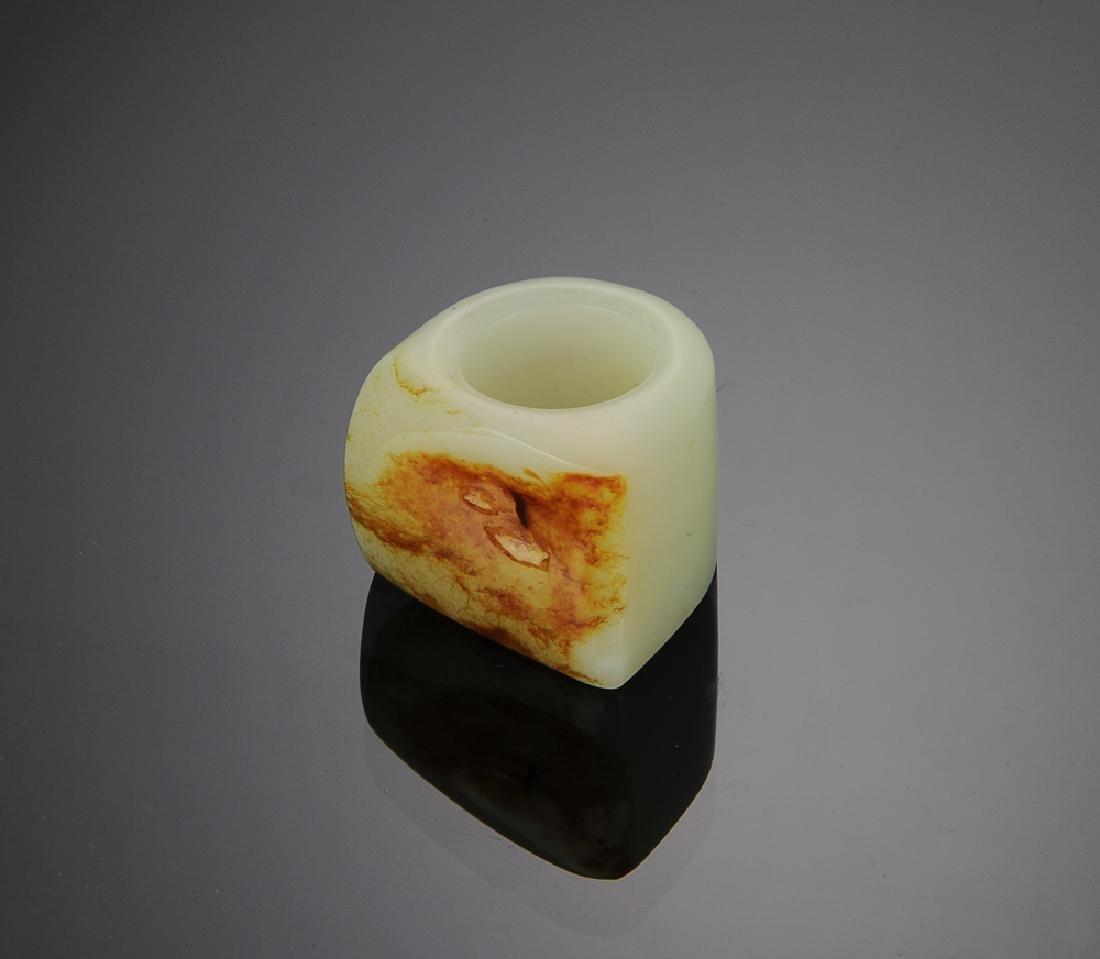 Chinese White Jade Archer's Ring w/ Skin, 18th C