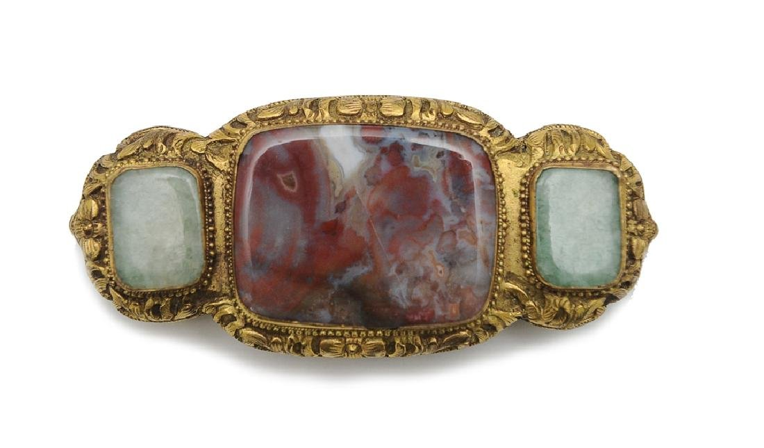 Chinese Gilt Bronze Belt Buckle w/ Agate, 18th-19th C.