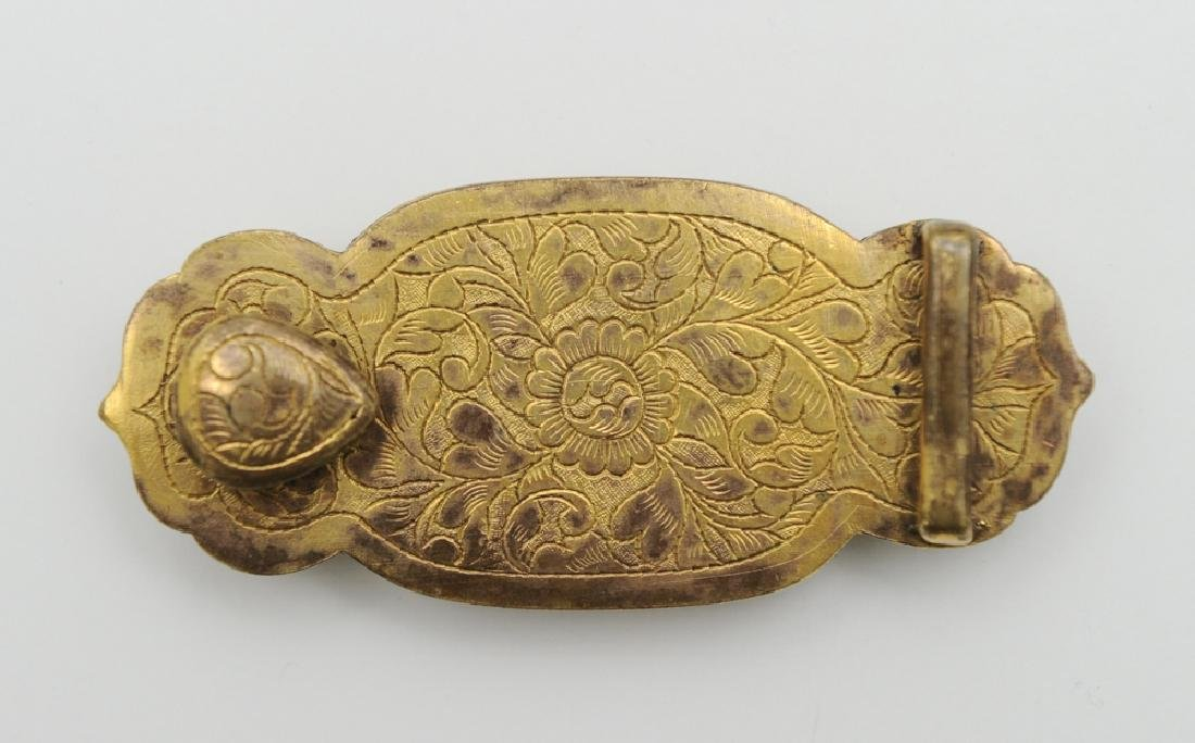 Chinese Gilt Bronze Belt Buckle w/ Agate, 18th-19th C. - 2