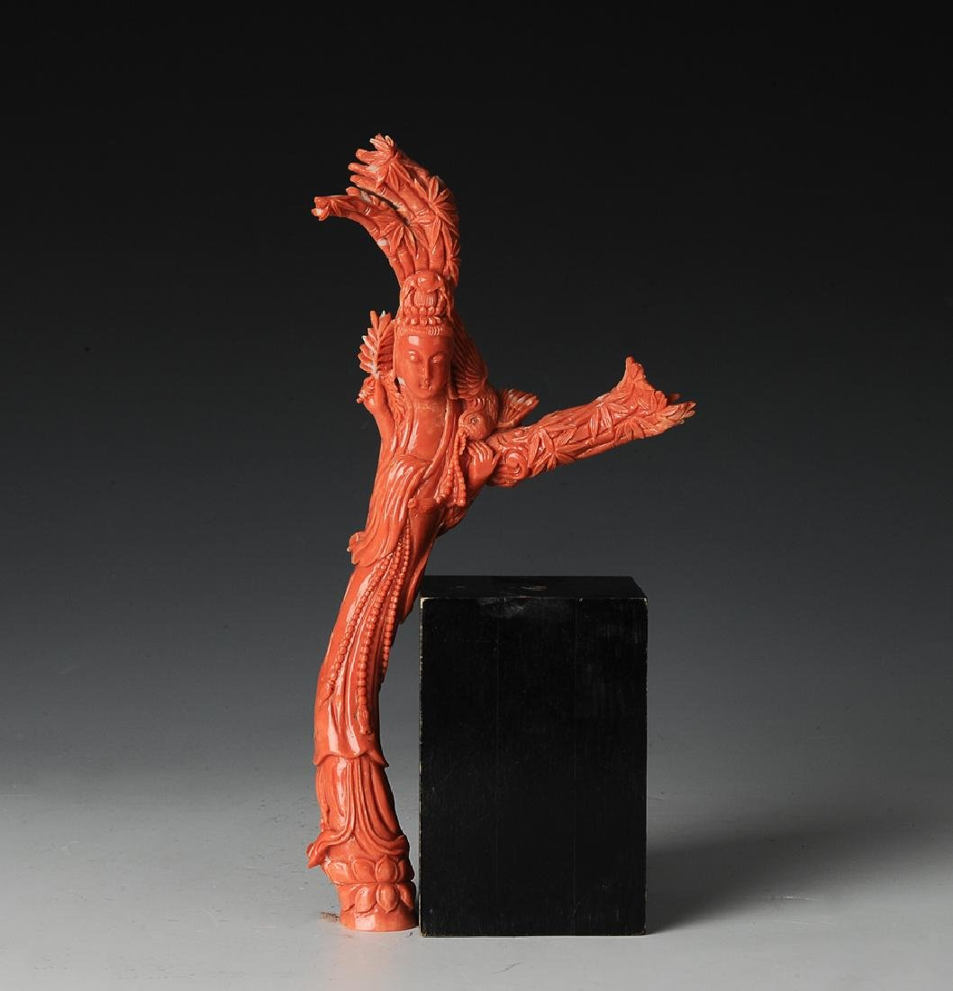 Chinese Coral Carving of Guanyin, 19th - 20th C