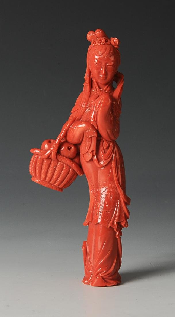 Chinese Coral Carving of a Lady, 19th Century