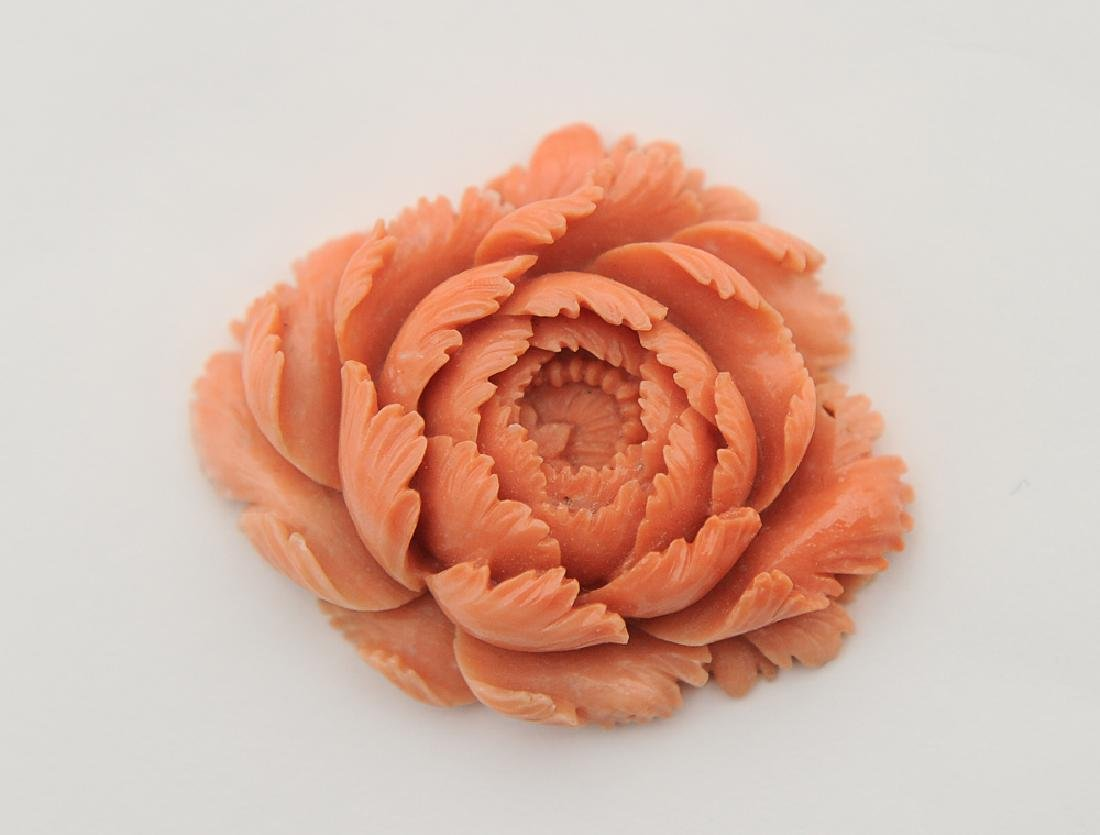 Chinese Carved Coral Flower, Early 20th C