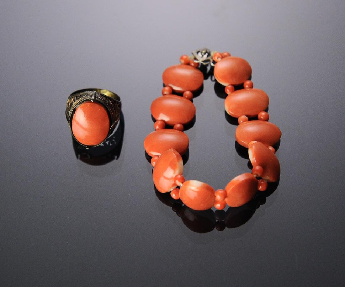 Chinese Coral Ring & Bracelet