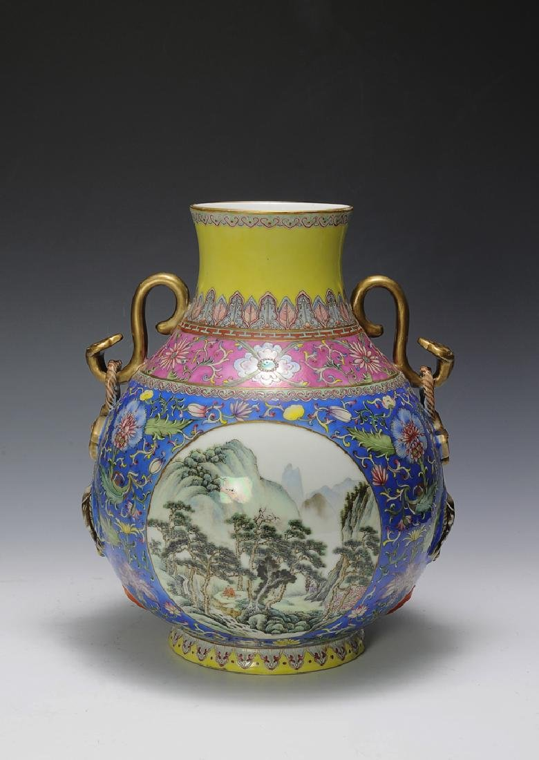 Famille Rose Vase, Zhong Zheng Mark, Republic