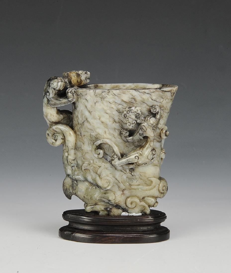 Chinese Chicken Bone Jade Libation Cup, Qianlong Preiod