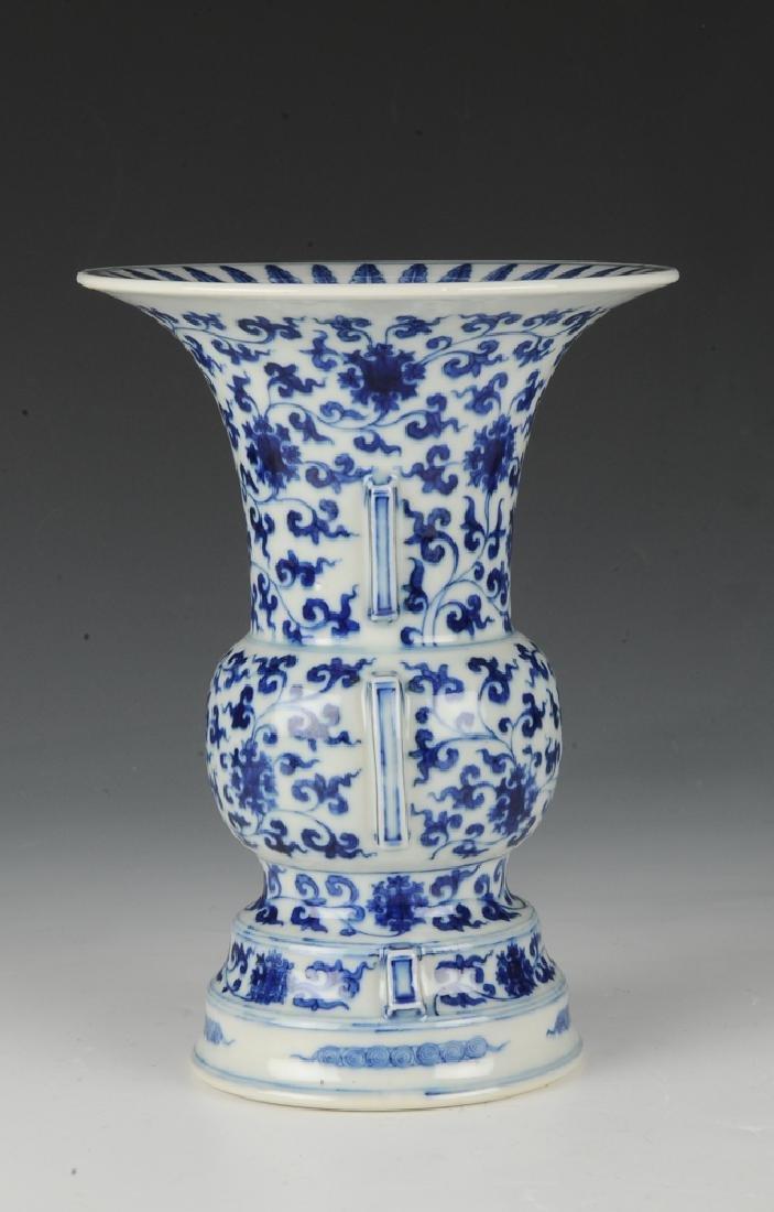 Chinese Blue & White Gu Form Vase, 18th - 19th C. - 3
