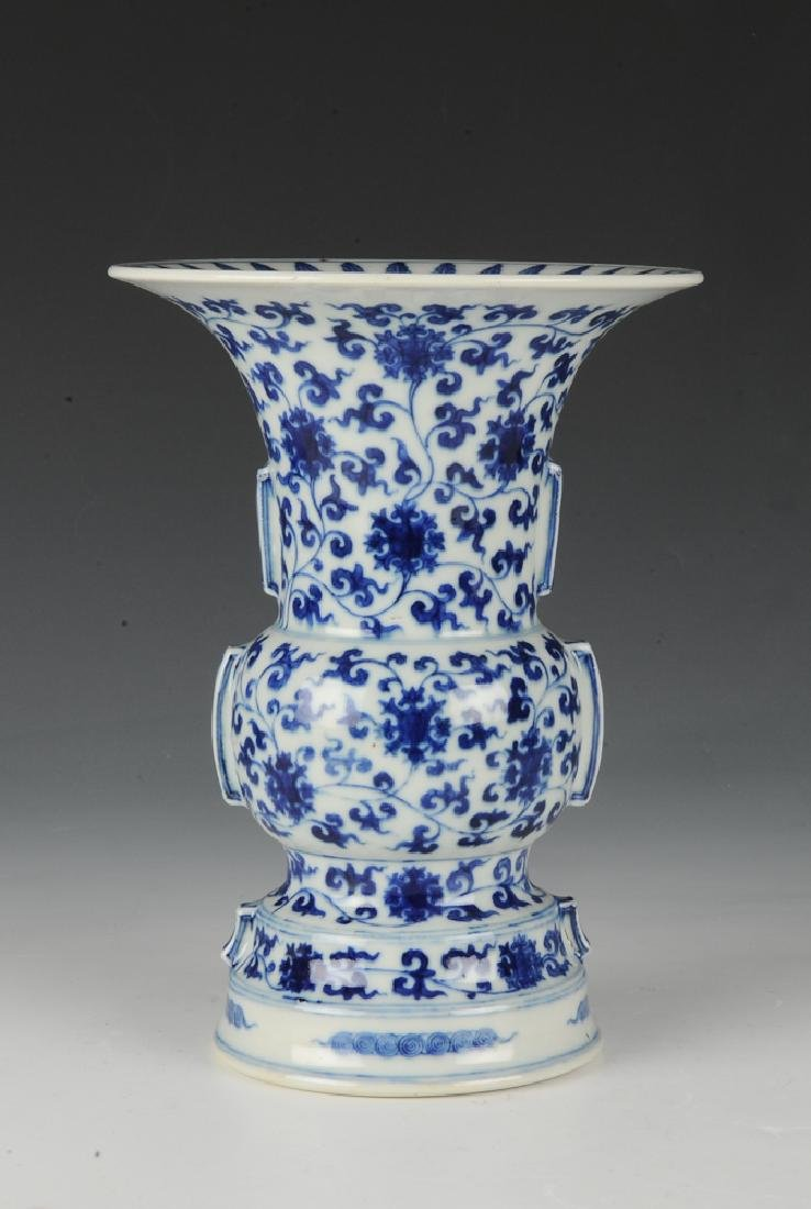 Chinese Blue & White Gu Form Vase, 18th - 19th C. - 4