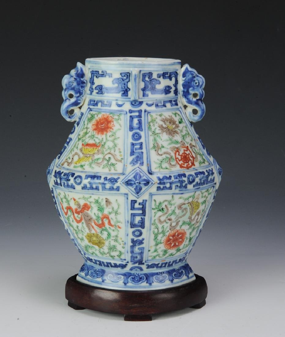 Chinese Diamond-Shaped Vase, 19th C. - 2