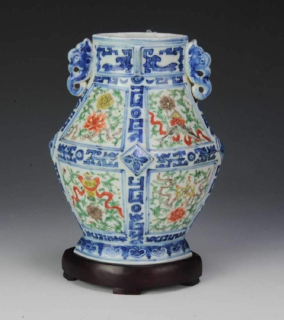Chinese Diamond-Shaped Vase, 19th C. - 4