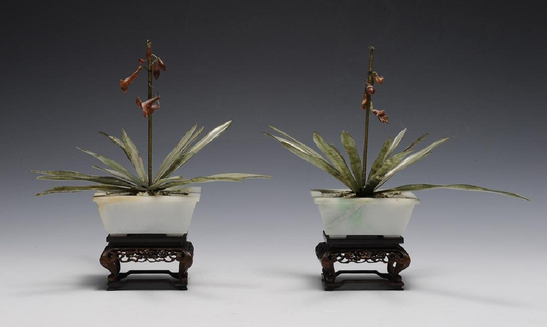Pair of Chinese Planters w/ Amber & Jade, 19th C.